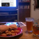 Veggie burgers, tater tots, and beer
