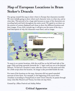 Map of the locations in Dracula