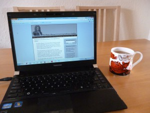 Monday morning, Day of DH 2013: Working on the Sloane Project.